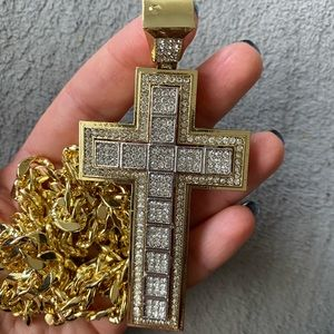 Two tone men's gold silver large cross necklace